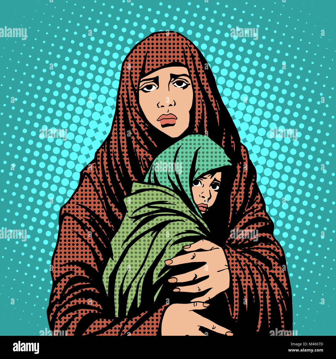 Mother and child refugees foreigners immigrants - Stock Image