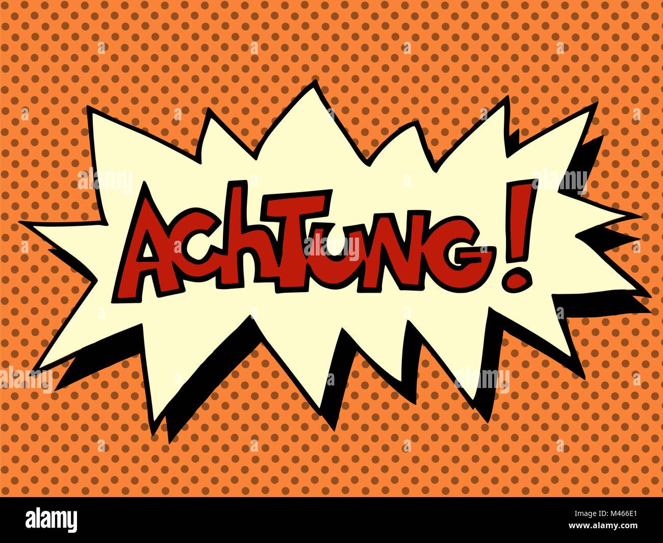 Achtung warning German language Stock Photo