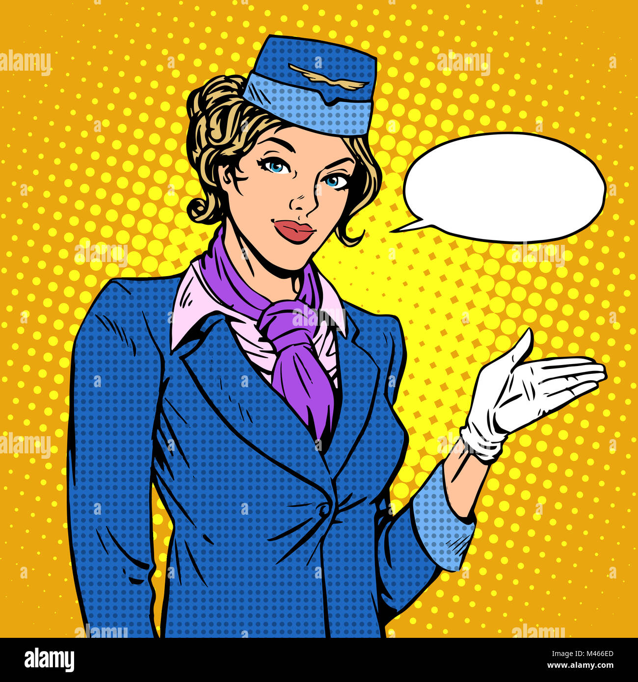 Stewardess airline invites you to Board - Stock Image