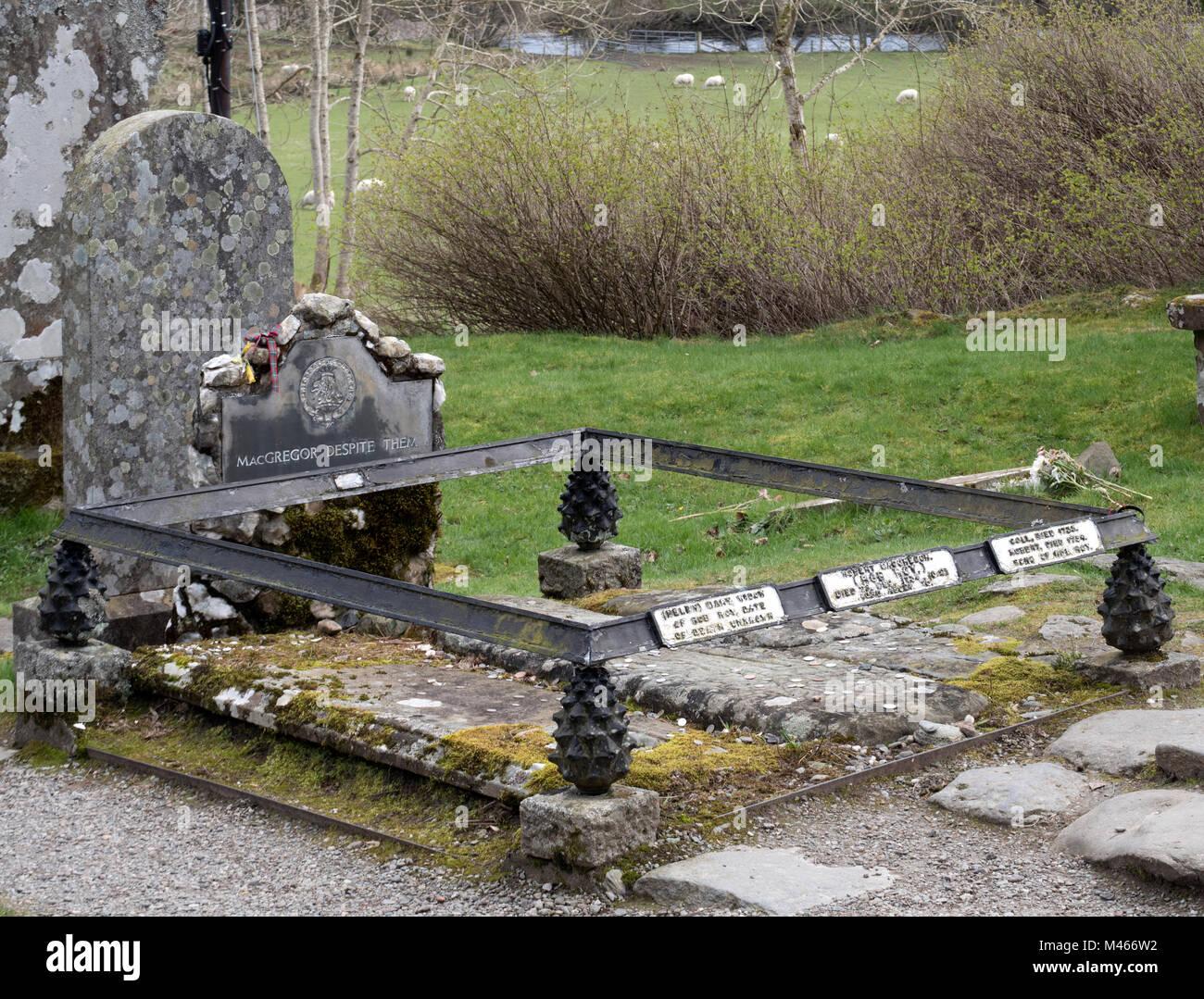 The grave of Rob Roy McGregor at Balquhidder Church, Balquhidder, Strathyre, Scotland, UK Stock Photo