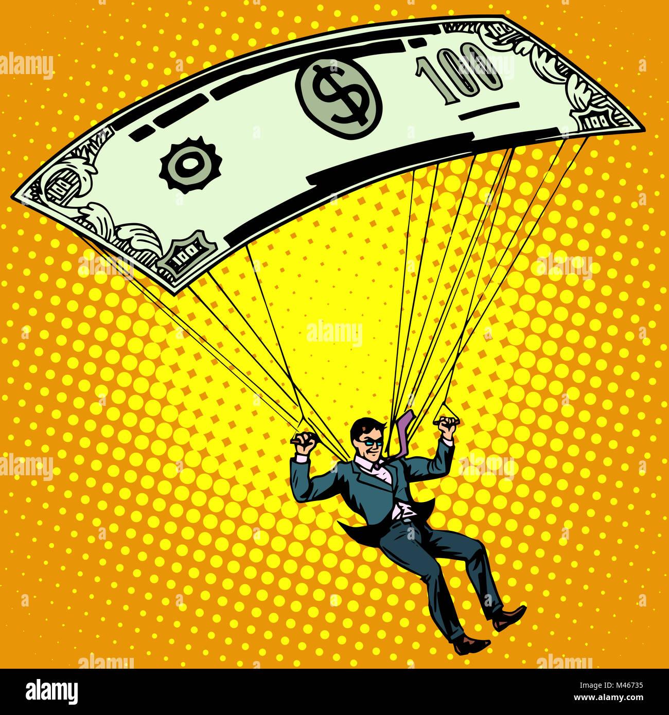 Golden parachute business concept cash compensation - Stock Image