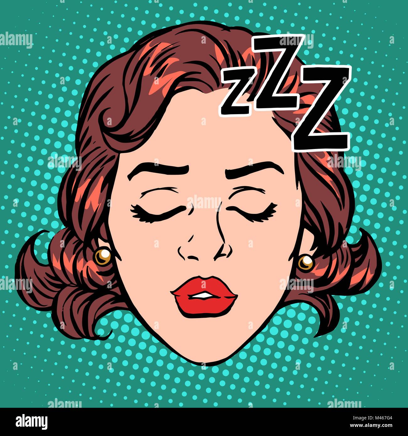 Emoji icon woman face sleep - Stock Image