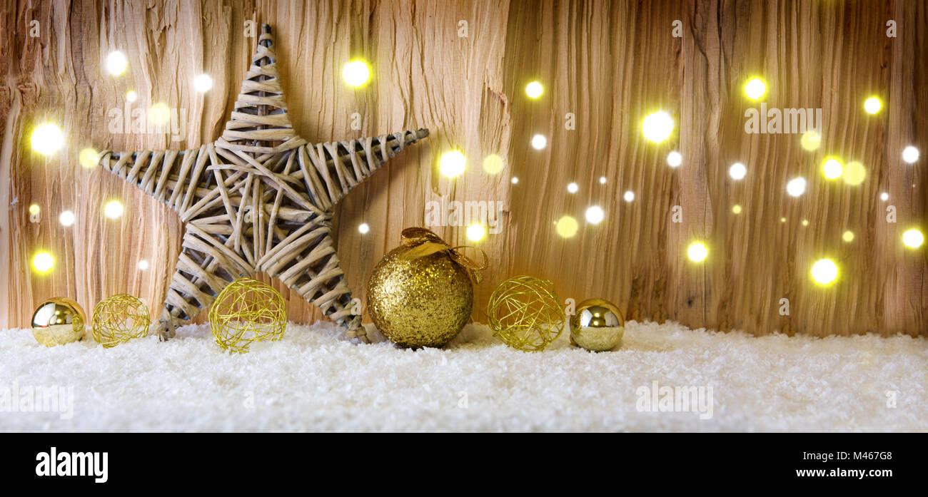 Christmas background with decorative star,Christmas balls  and light. Stock Photo