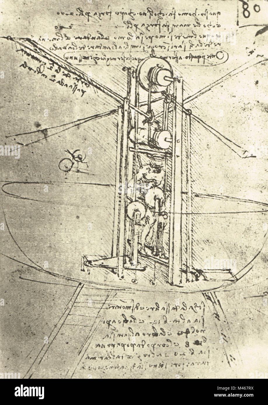 Man powered flying machine with helicopter like blades, drawn by Leonardo Da Vinci, Circa 1488-9 - Stock Image