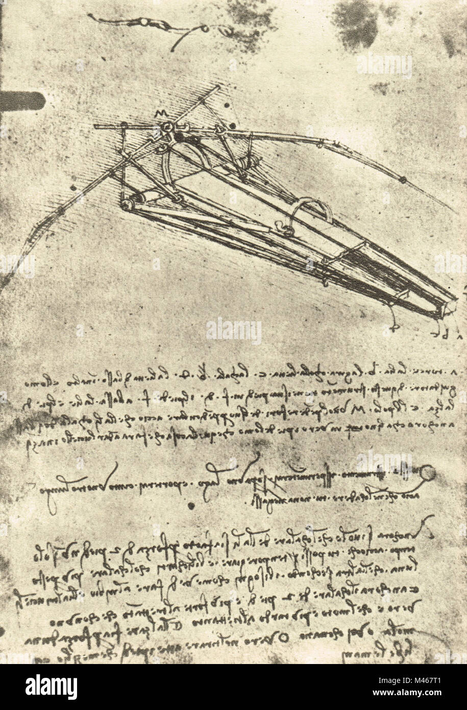 Flying machine drawn by Leonardo Da Vinci, Circa 1488-9 - Stock Image