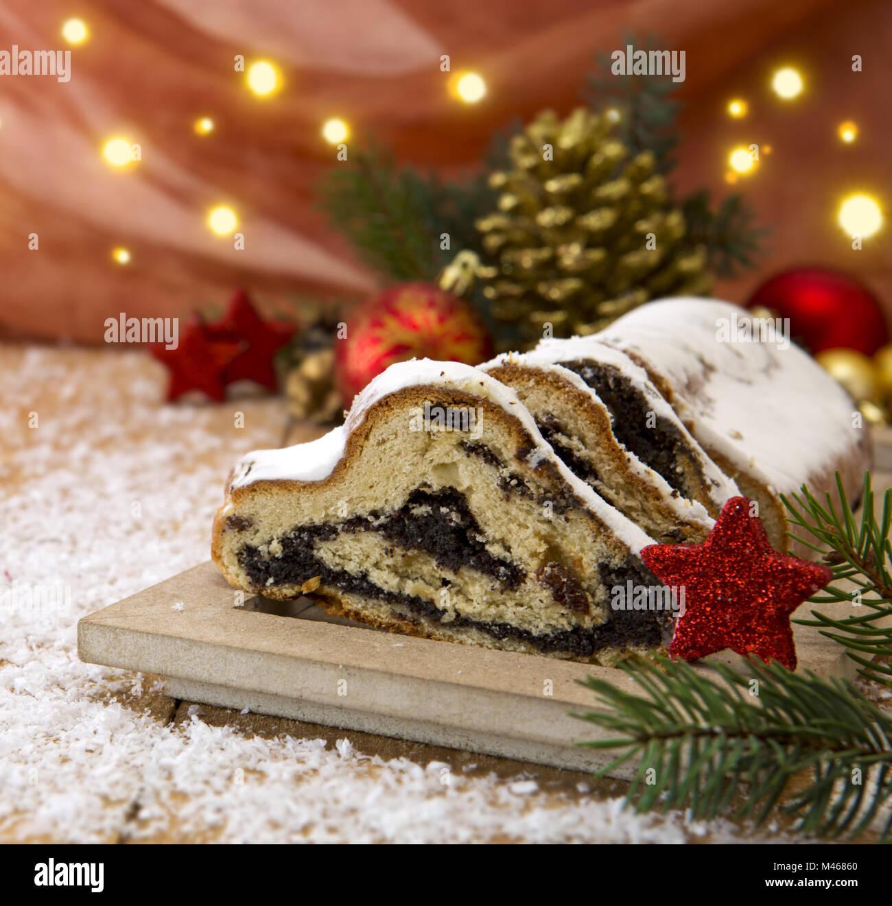 Traditional German Christmas cake   and decoration. - Stock Image