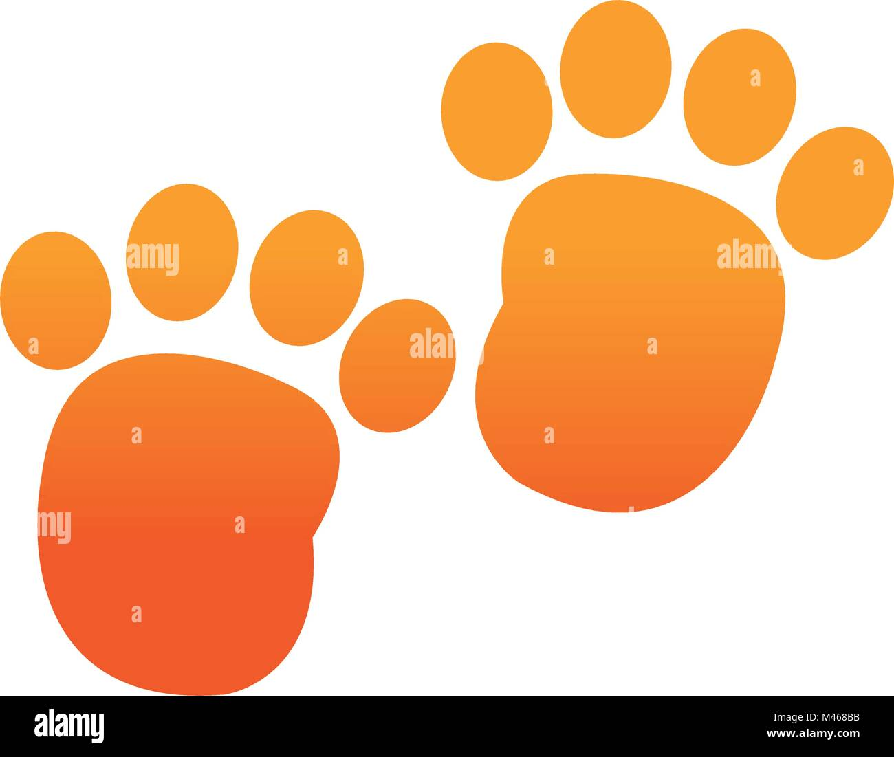 orange human footprint with toes mark sign - Stock Vector