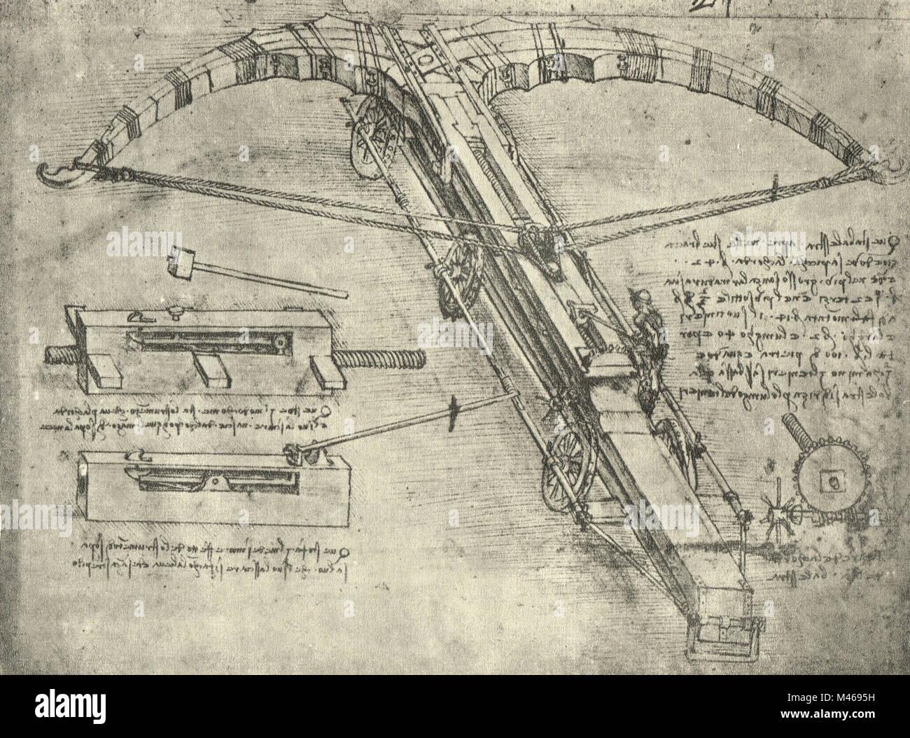 Enormous crossbow on wheel, drawn by Leonardo Da Vinci, circa 1485-88 - Stock Image