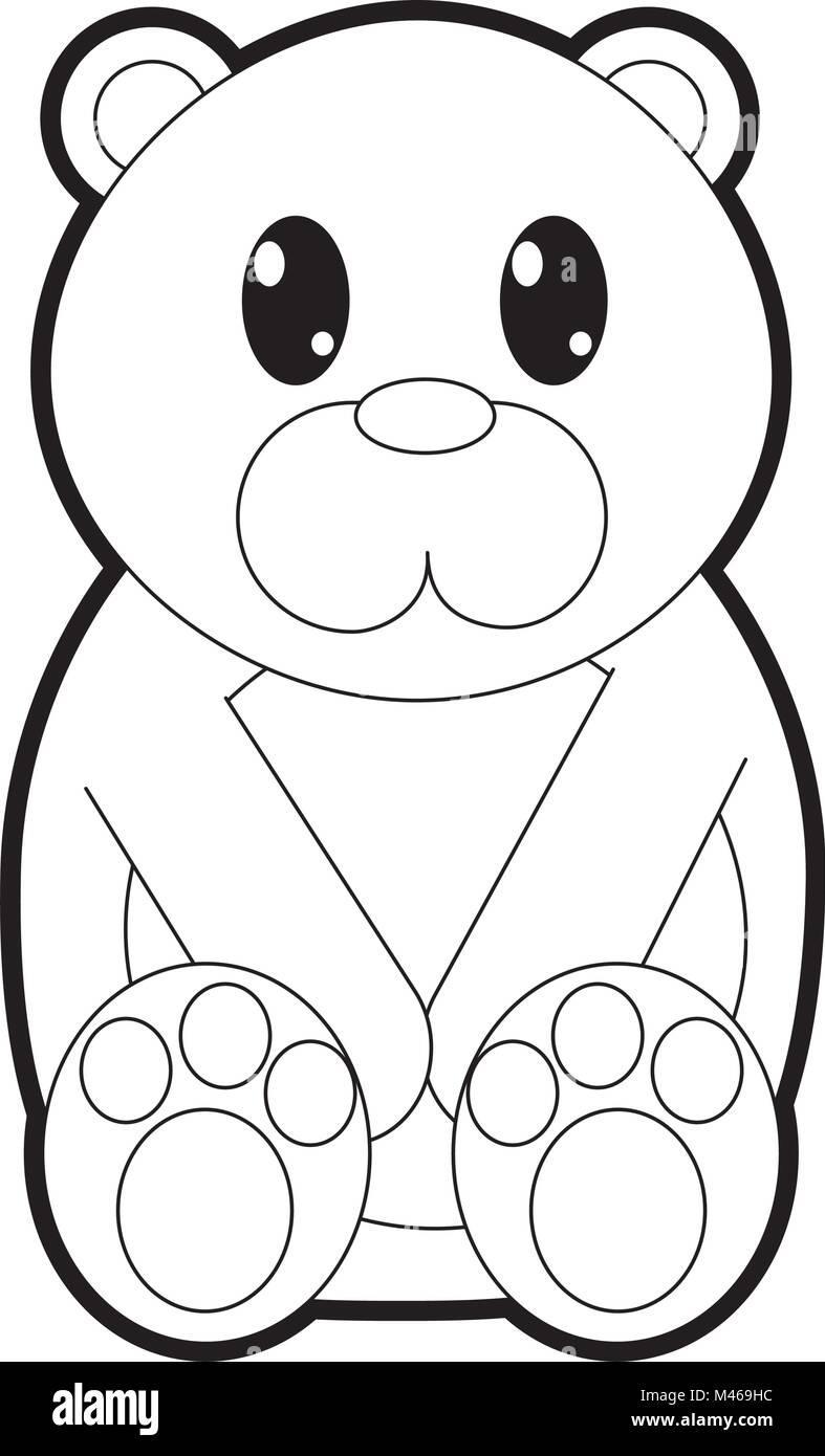 outline bear cute wild animal character - Outline Of A Bear