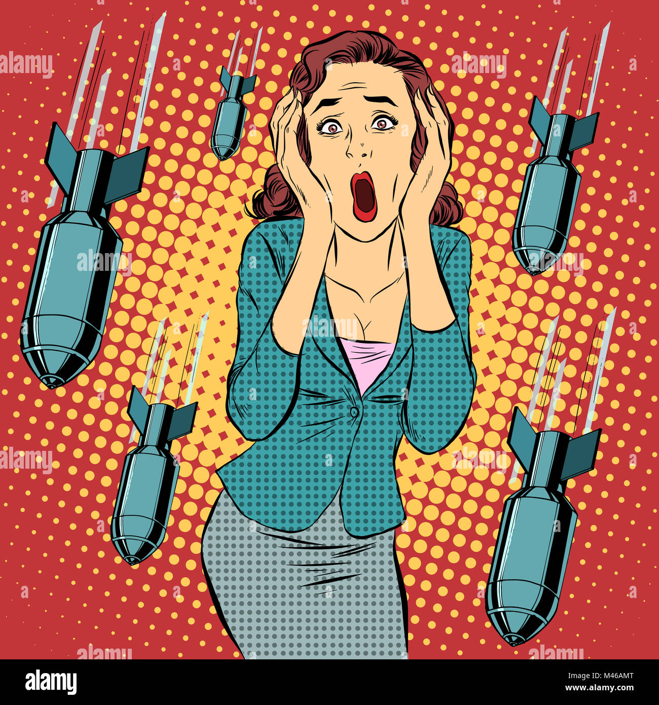War bombing civilian woman panic horror - Stock Image