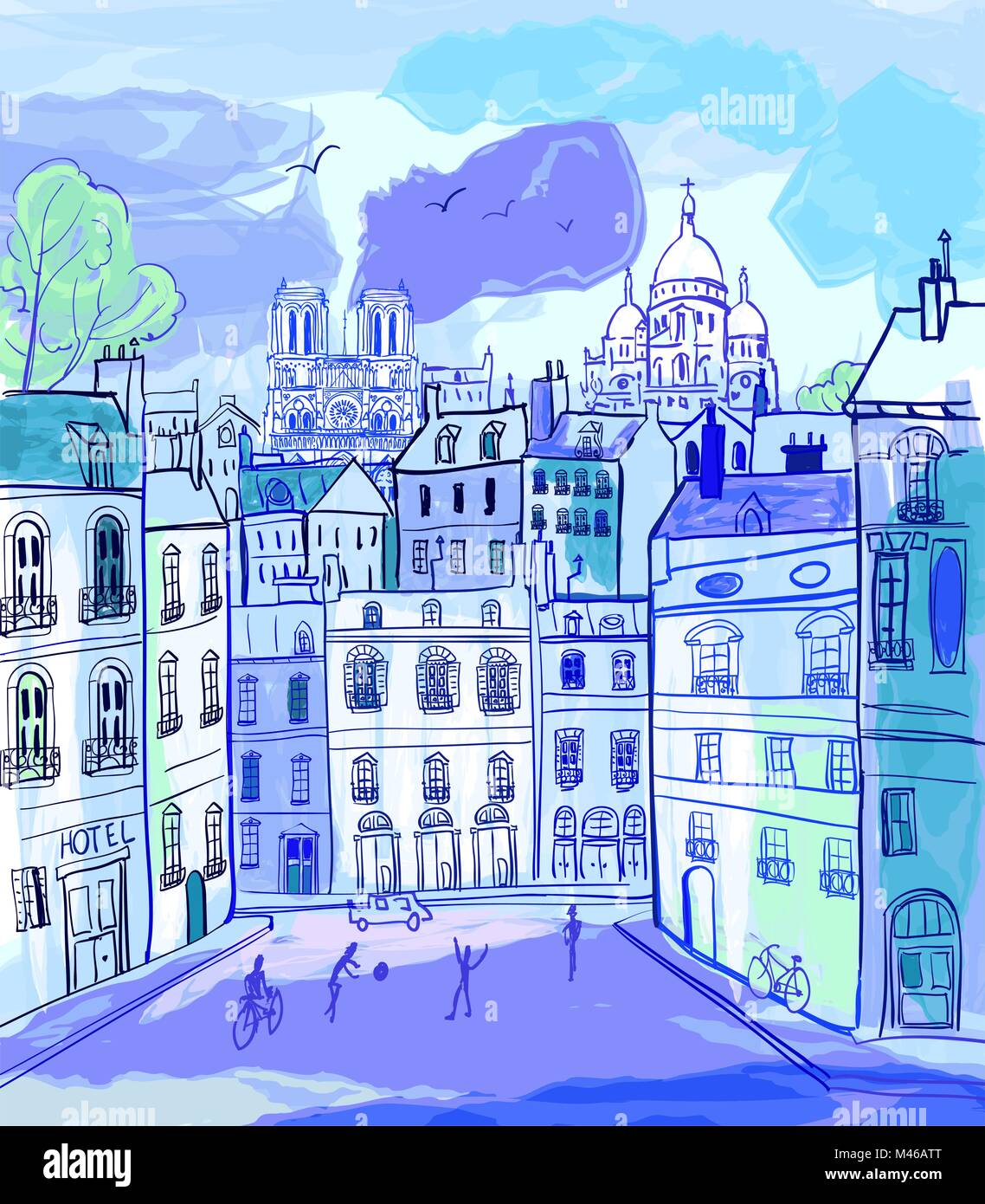vector illustration of Paris in watercolor style - Stock Vector