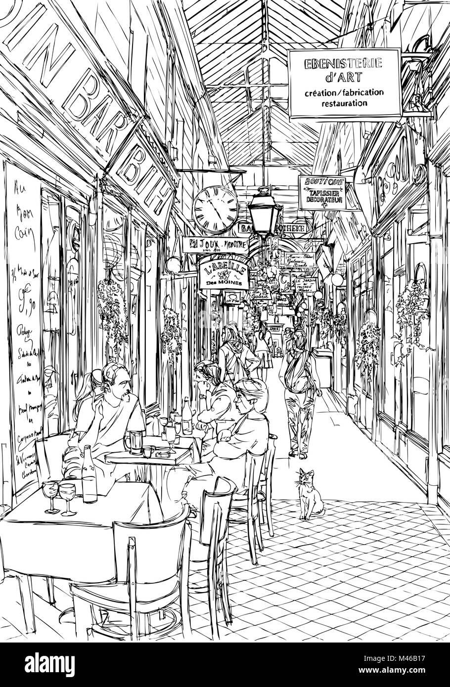 Arcade in Paris - vector illustration - Stock Vector