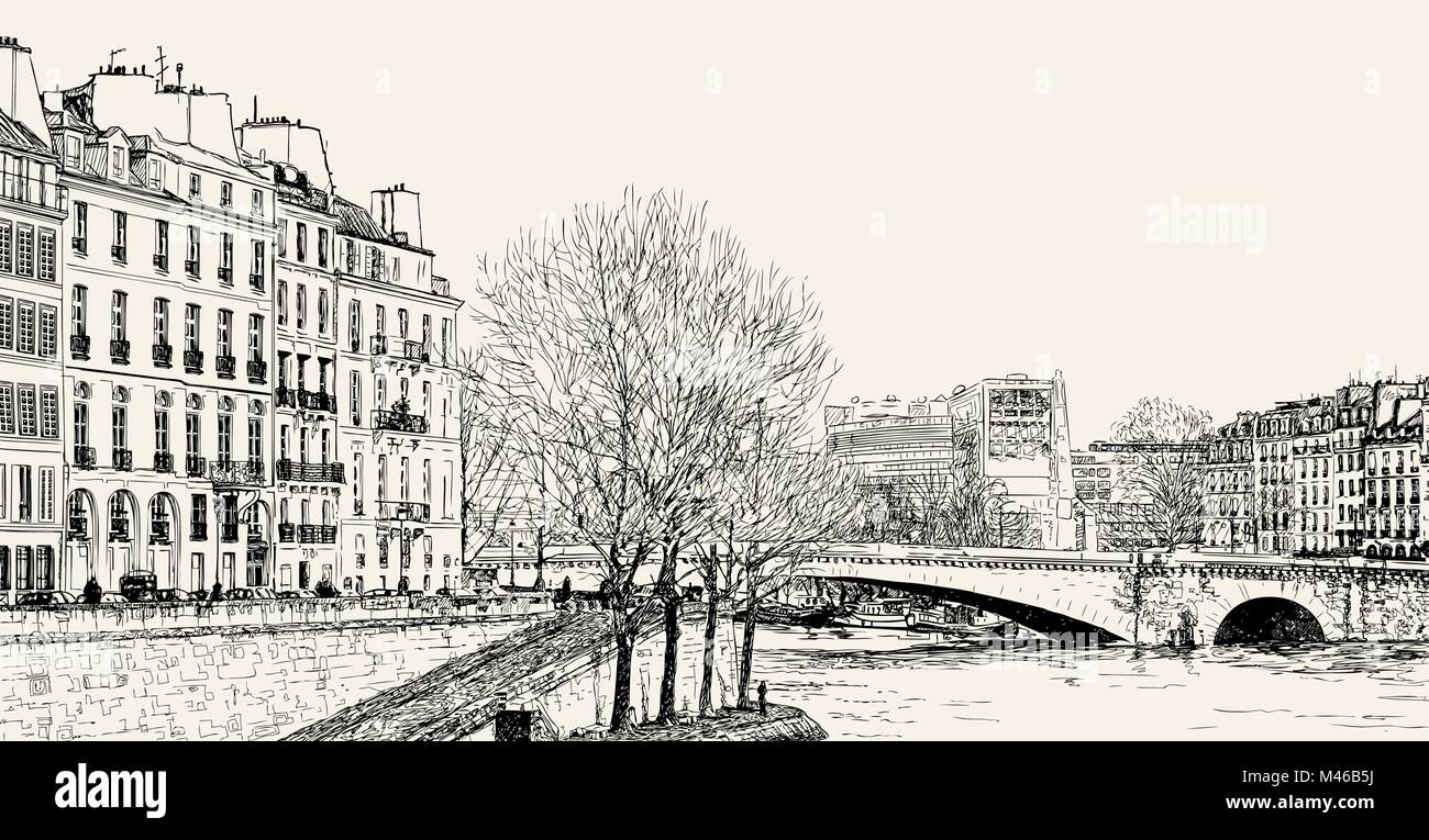 Vector illustration of a view from Pont St Louis on Seine River and Pont de la Tournelle - Stock Image