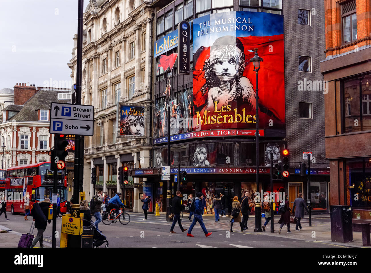 The Queen's Theatre at West End on Shaftesbury Avenue, London England United Kingdom UK - Stock Image