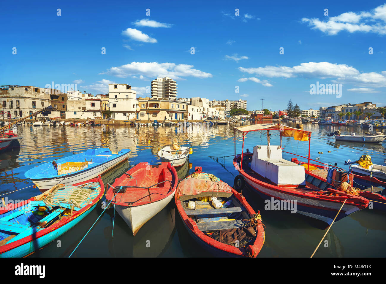 Traditional colorful fishing boats at old port in Bizerte. Tunisia, North Africa - Stock Image