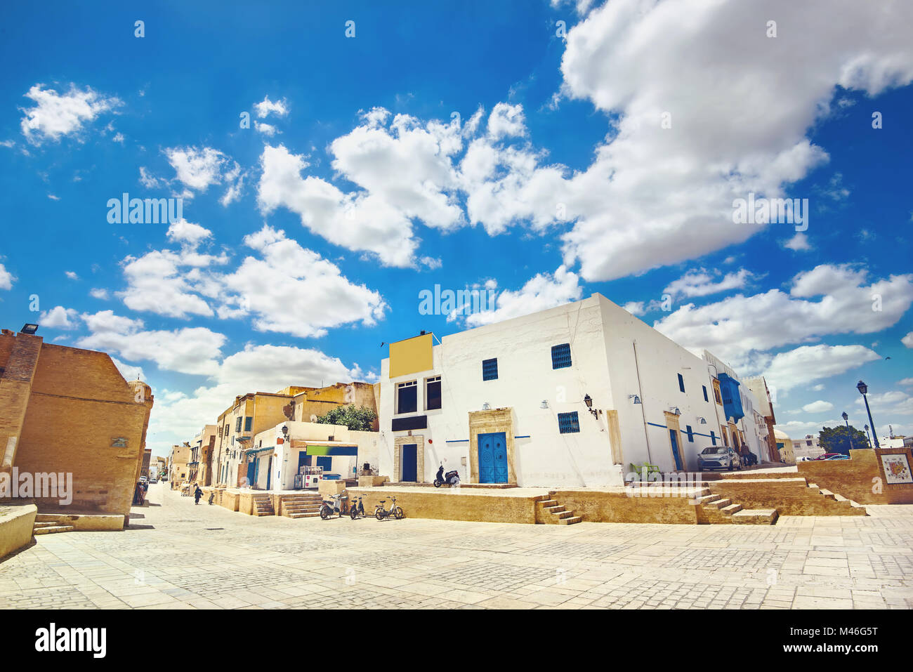 Cityscape with typical houses near Great Mosque of Kairouan. Tunisia, North Africa Stock Photo