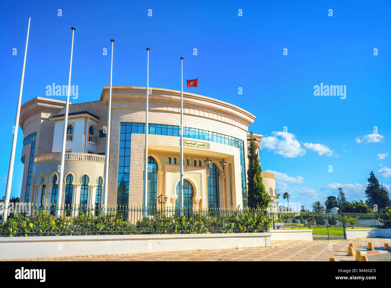Modern palace of marriage, wedding ceremony and registration new  born child. Nabeul, Tunisia, North Africa - Stock Image