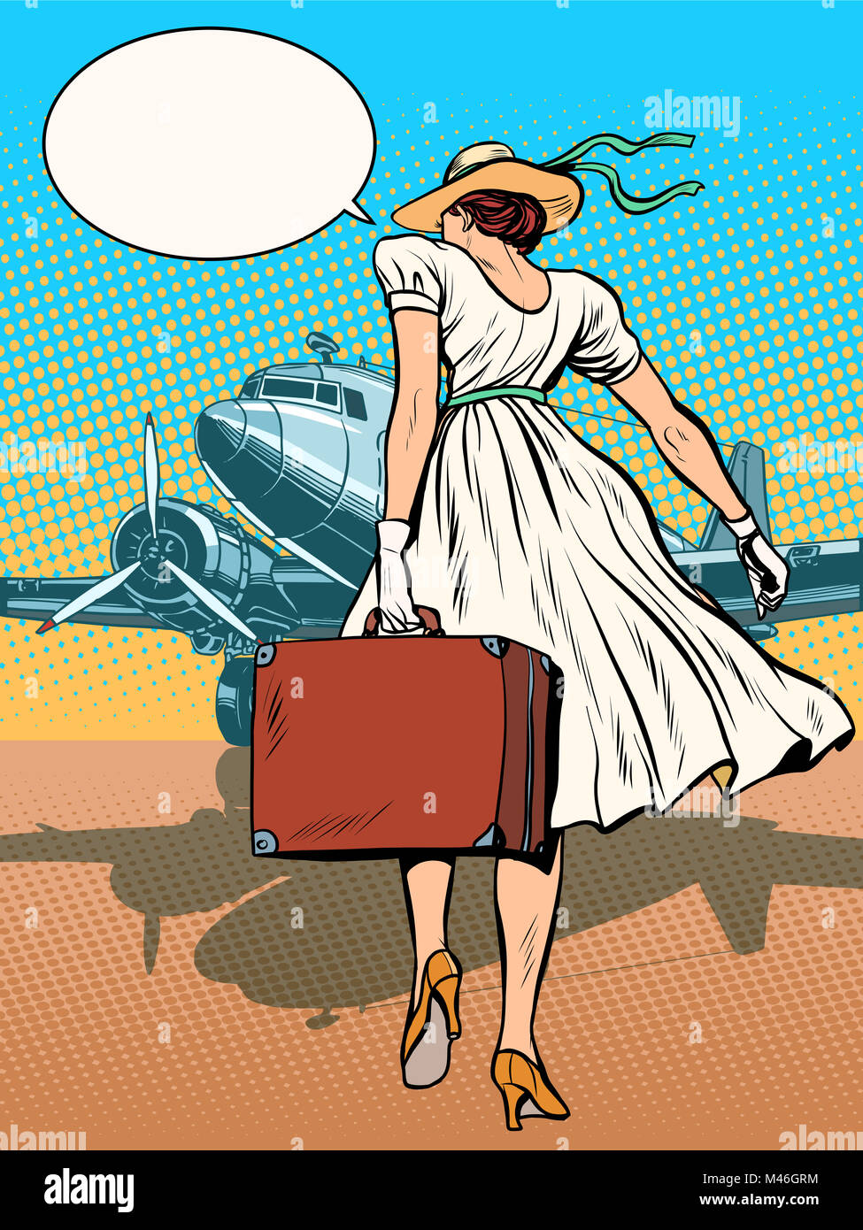 Lady passenger aircraft with Luggage - Stock Image