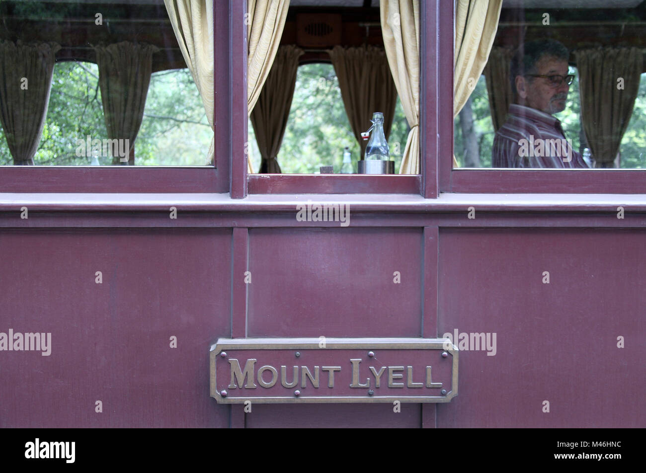Dining carriage on the Puffing Billy Steam Train - Stock Image