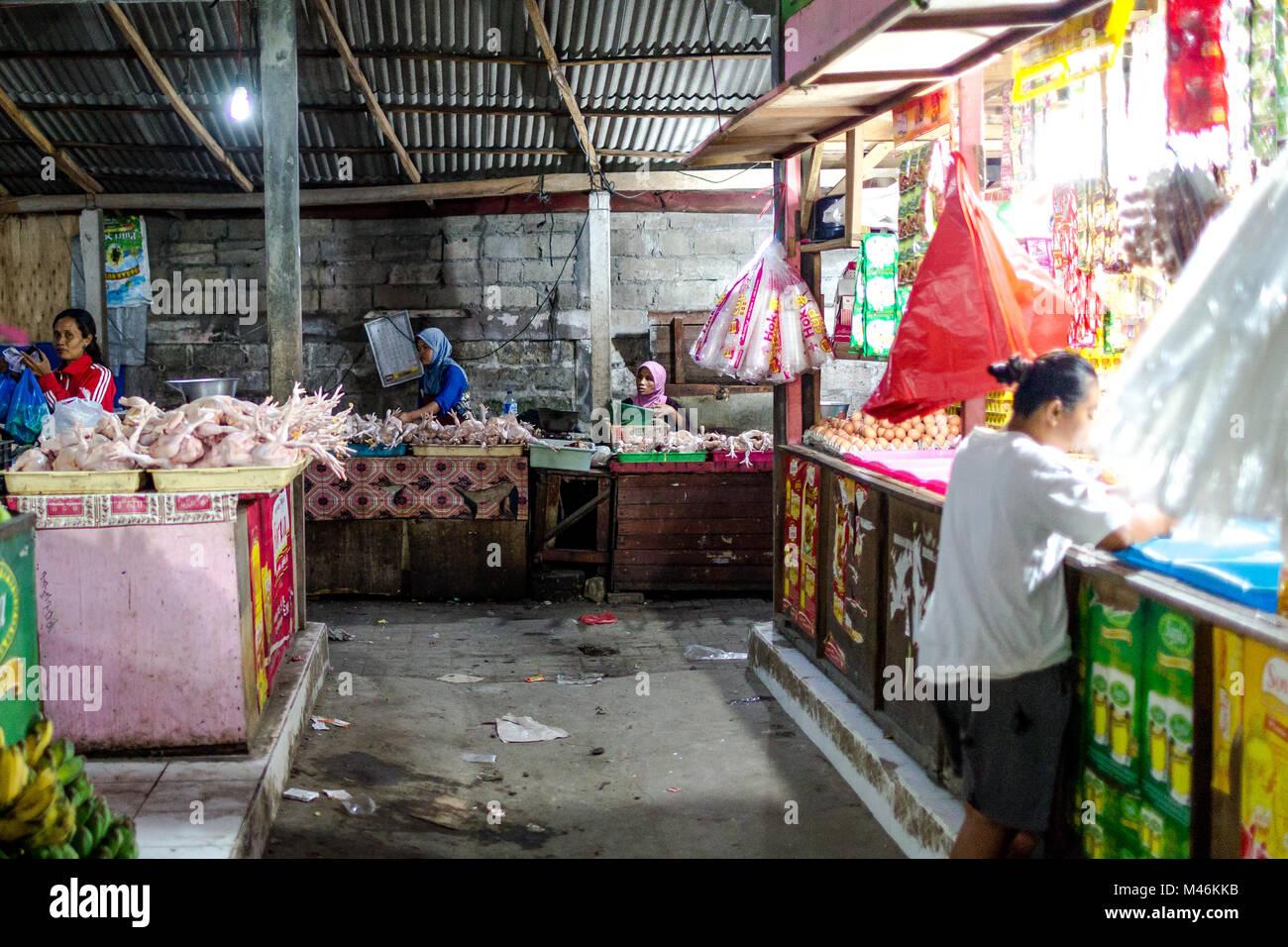 Jimbaran, Bali, 6 September 2013:  Raw chicken sold on Jimbaran market in Bali Stock Photo