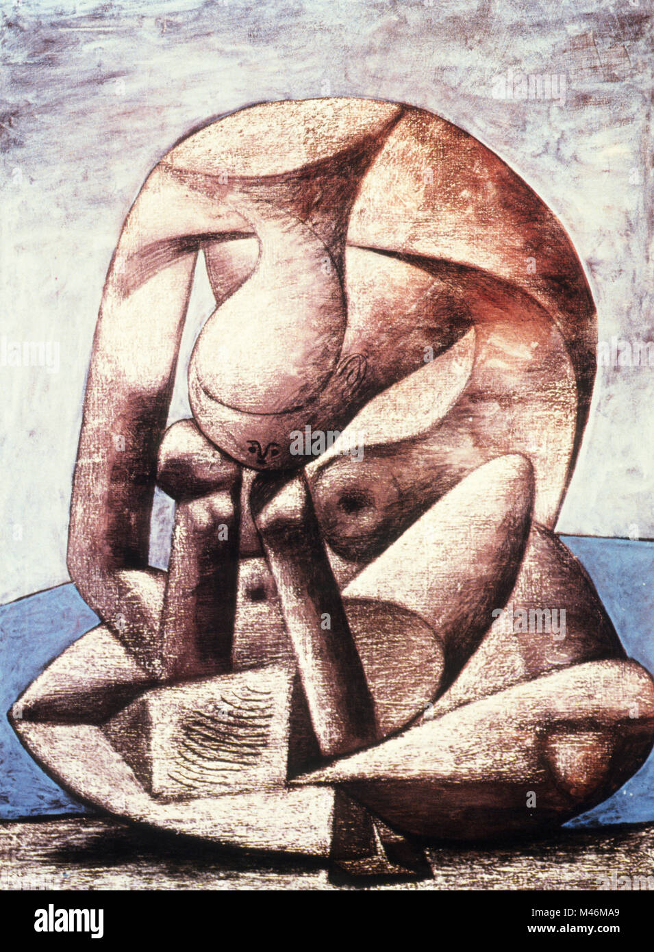 pablo picasso, large bather with a book, 1937, musee national picasso, paris - Stock Image