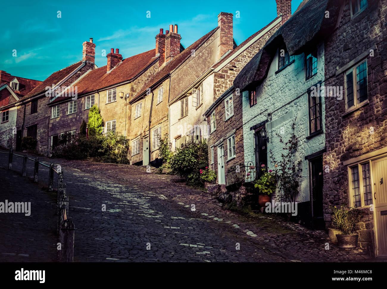 Gold Hill Shaftesbury England - Stock Image