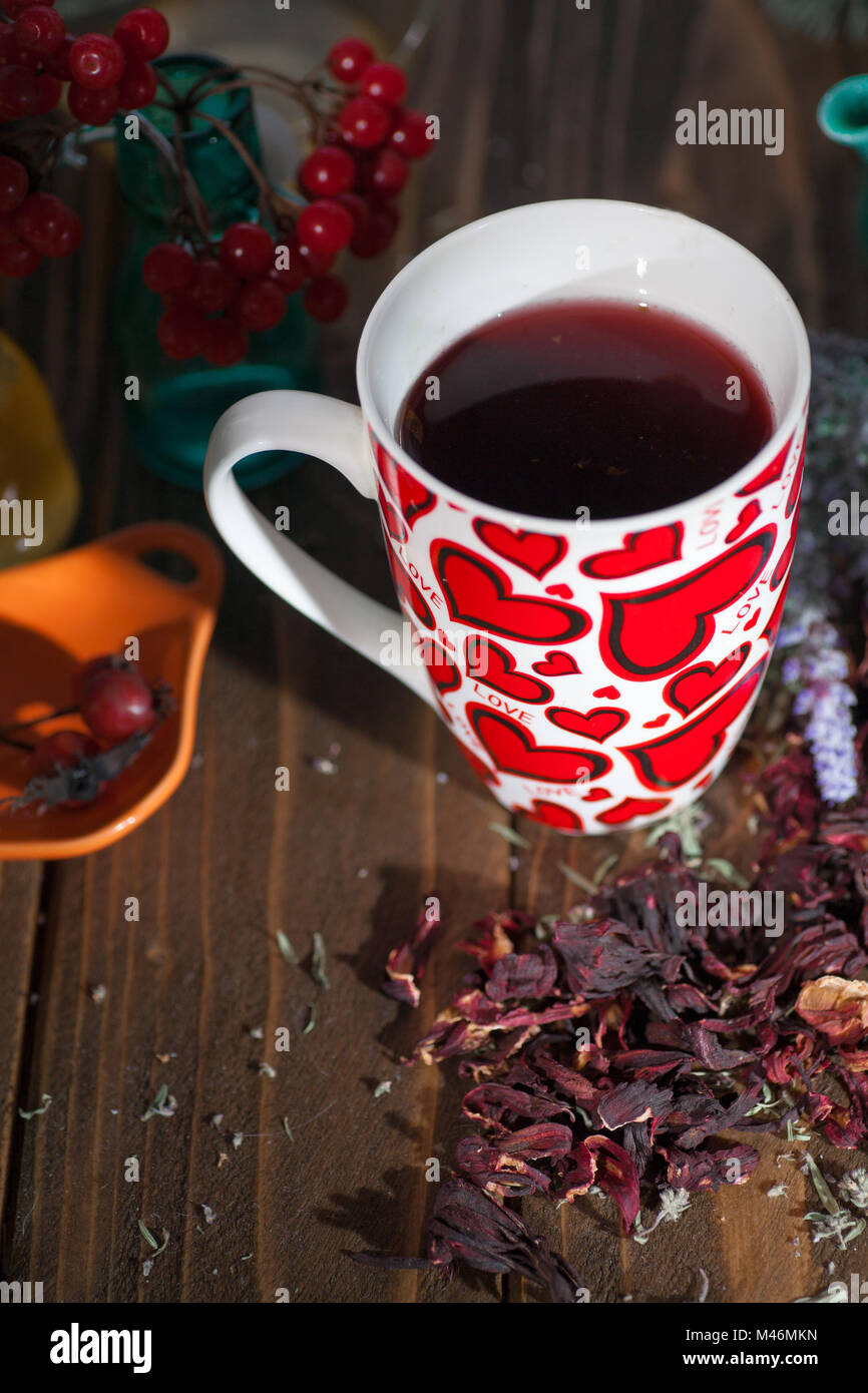 tea in a mug with hearts on the day of St. Valentine - Stock Image