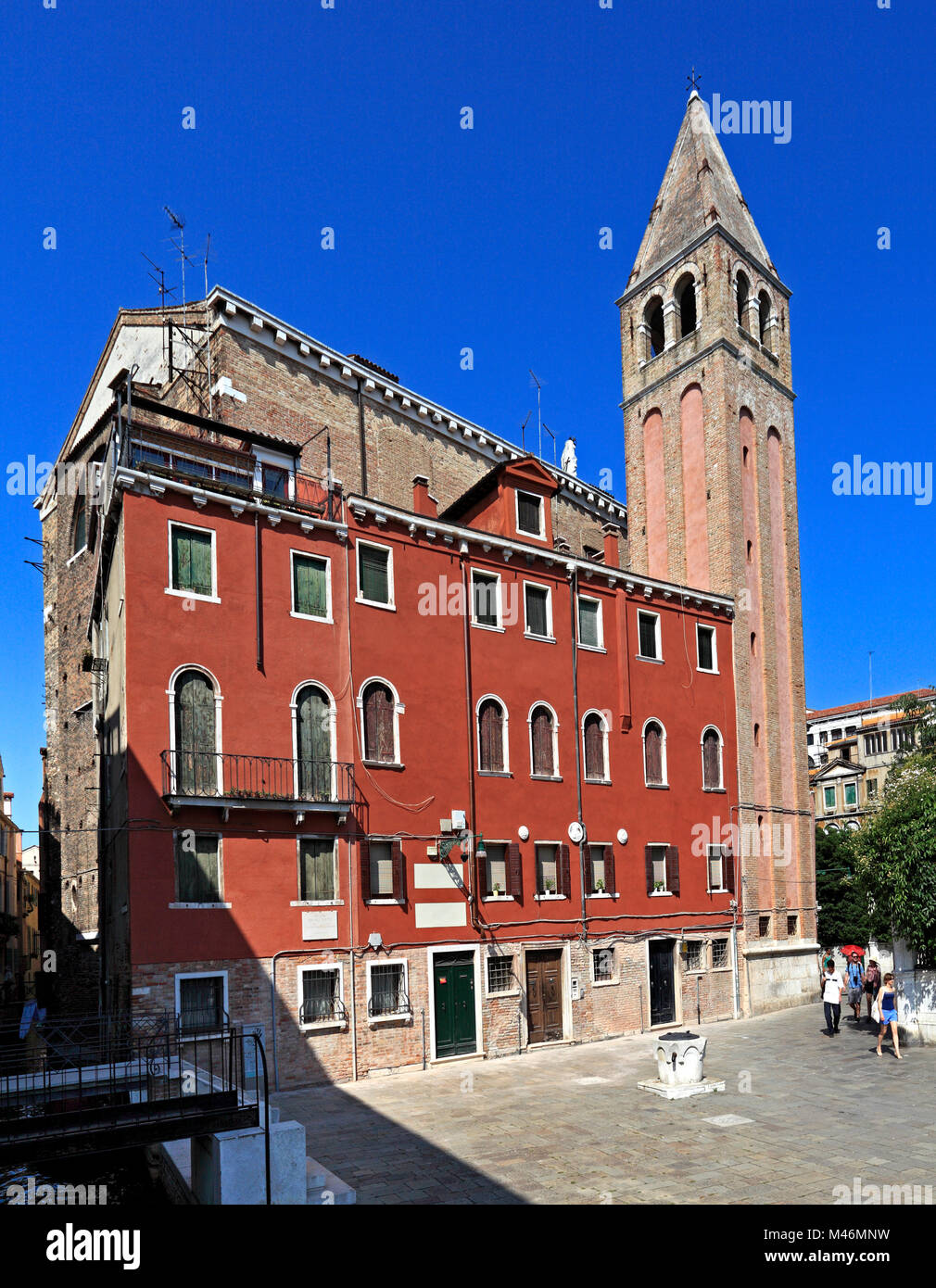 Venice, Veneto / Italy - 2012/07/05: Venice city center - streets and medieval buildings of the San Marco district - Stock Image