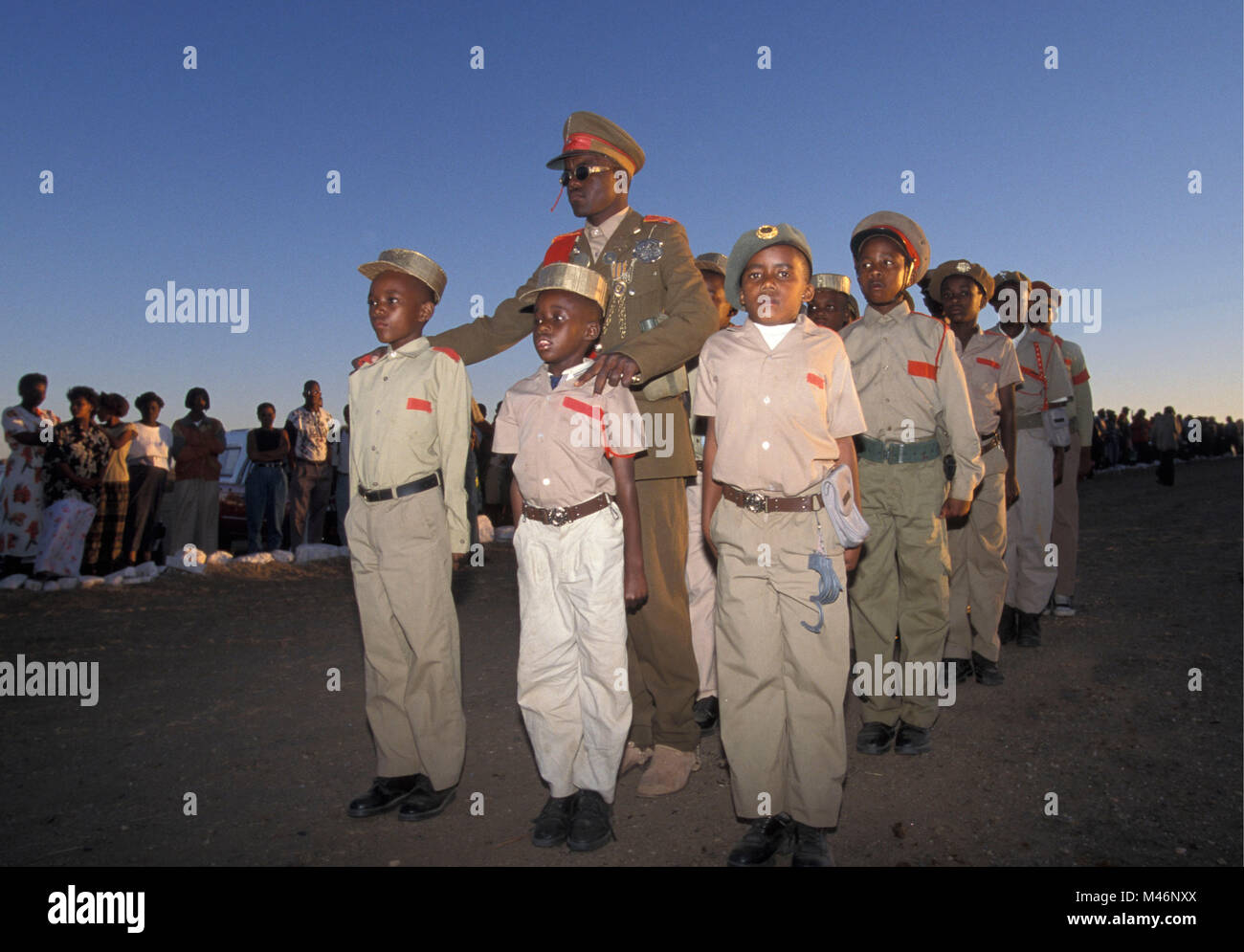 Namibia. Okahandja. Annual procession. Red Flag Herero gather in traditional dress because of fallen chiefs (killed - Stock Image