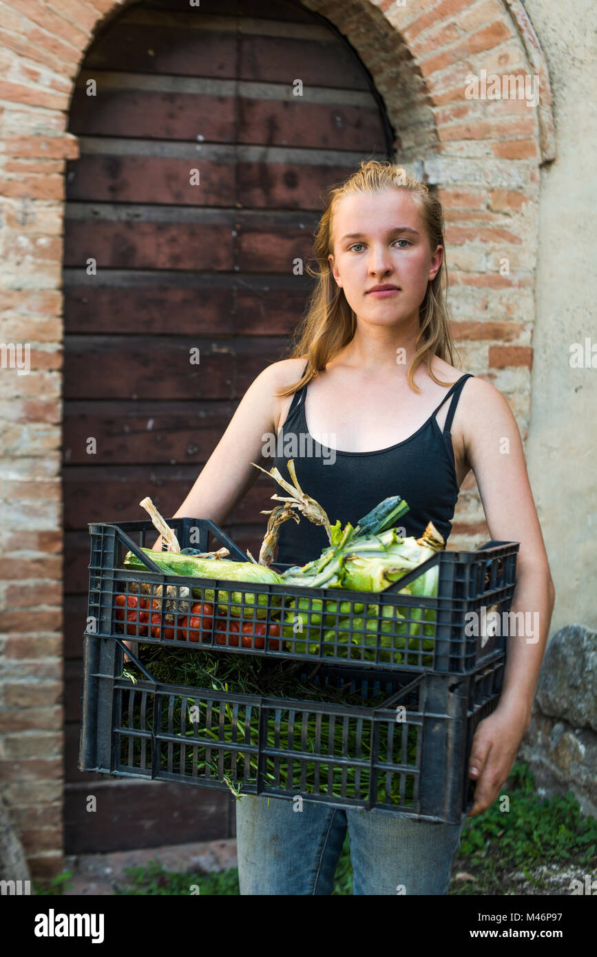 Farmer holding crates of harvested vegetables,Tuscany, Italy. - Stock Image