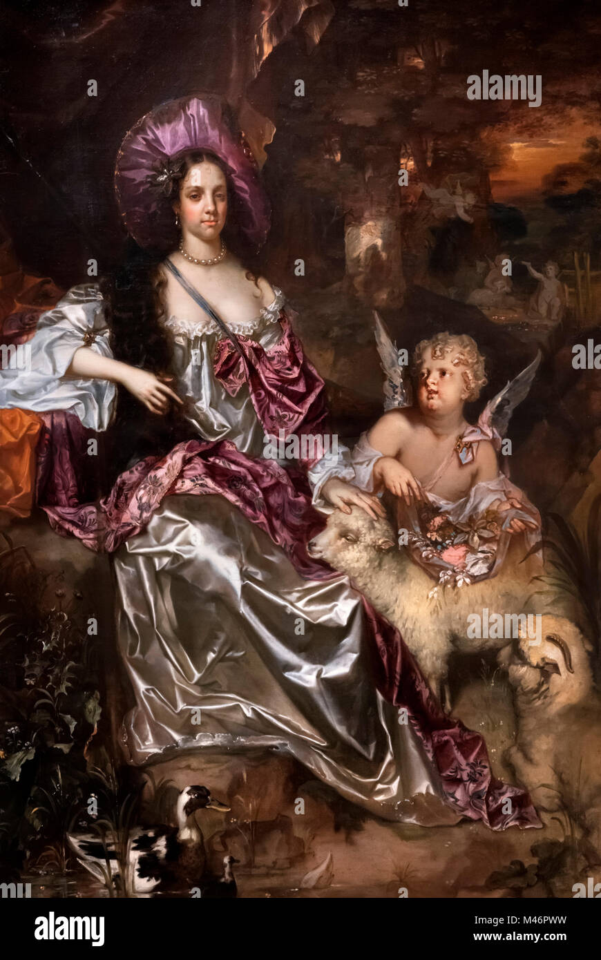 Catherine of Braganza (1638-1705), Queen Consort as wife of King Charles II.  Portrait by Jacob Huysmans, oil on - Stock Image