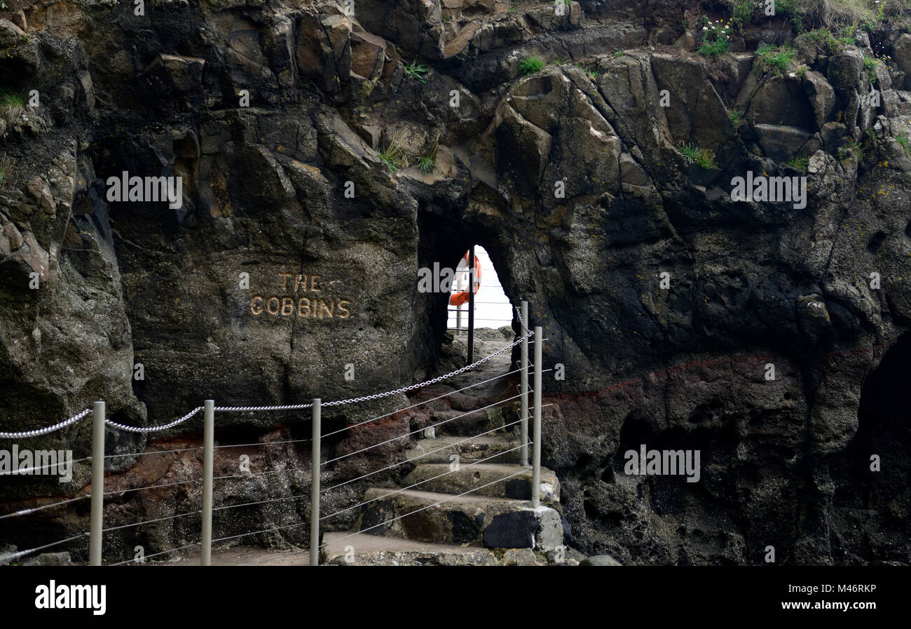 The Gobbins Cliff Path,Entrance,Dramatic Cliff Walk,Metal Bridge,bridges,Causeway Coastal Route,Islandmagee,County Stock Photo