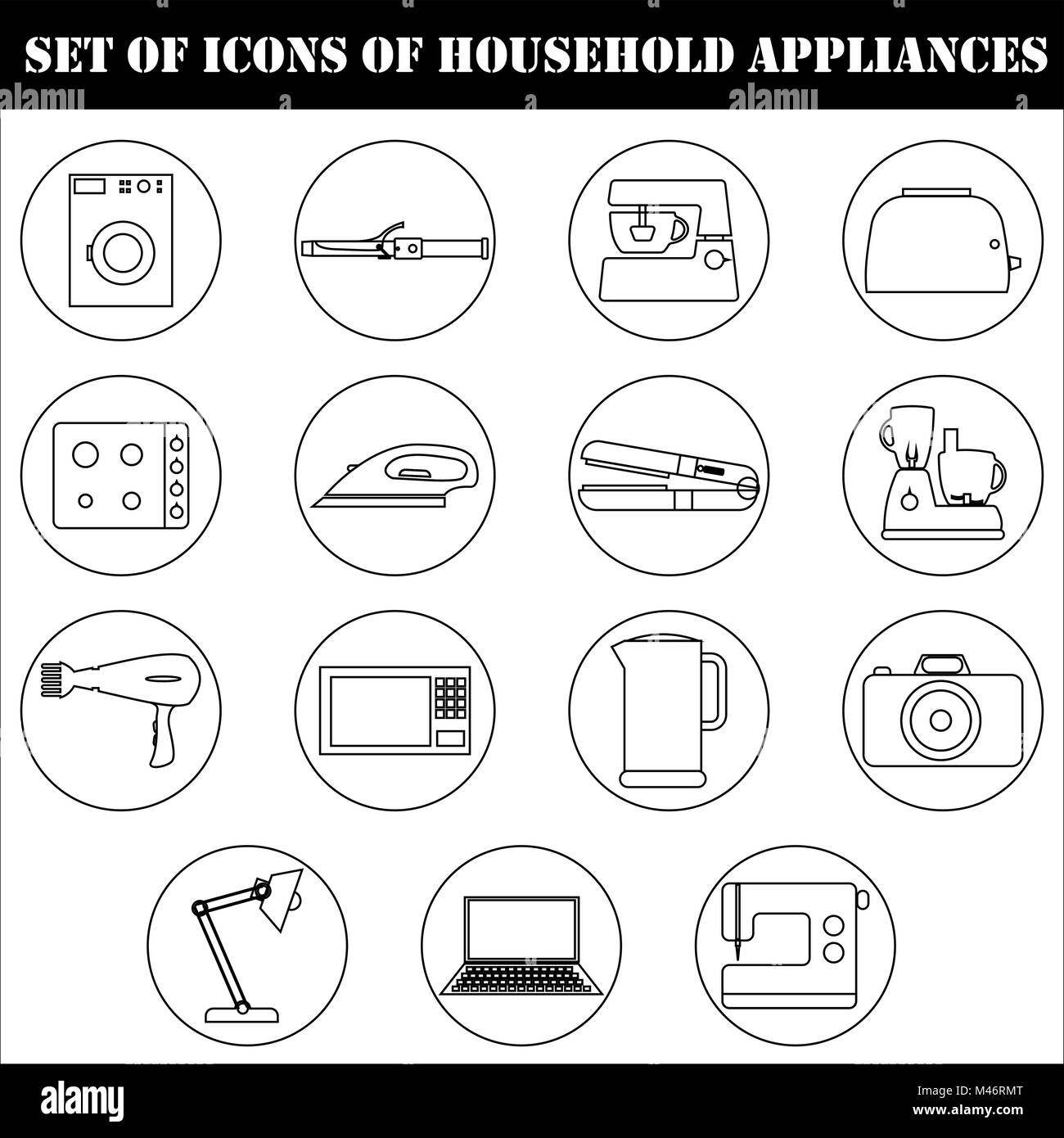 A set of icons of household electric household appliances - Stock Image