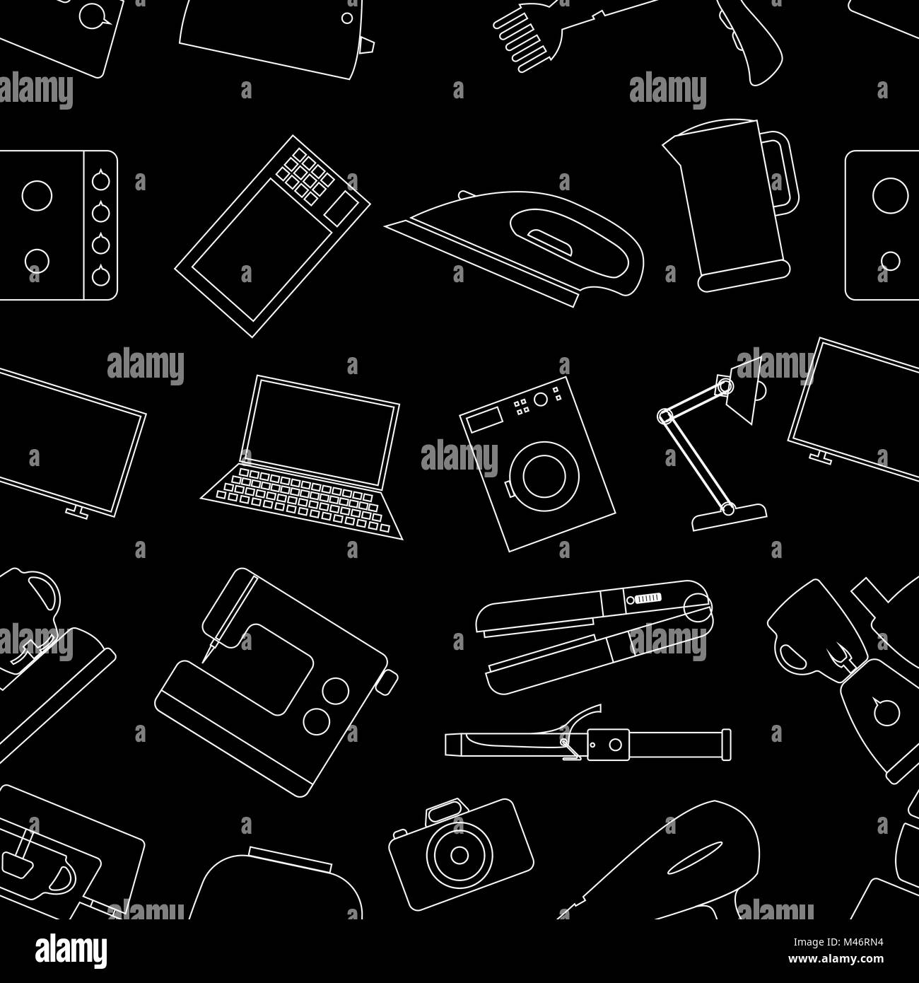 Seamless background from a set of home appliances. - Stock Image