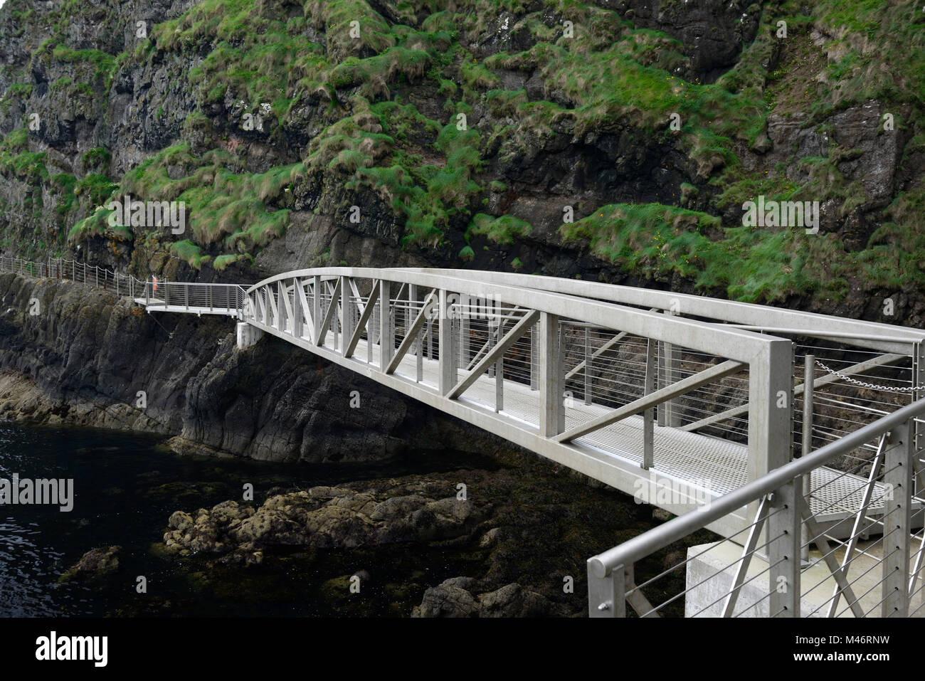 The Gobbins Cliff Path,Dramatic Cliff Walk,Metal Bridge,bridges,Causeway Coastal Route,Islandmagee,County Antrim,Northern Stock Photo