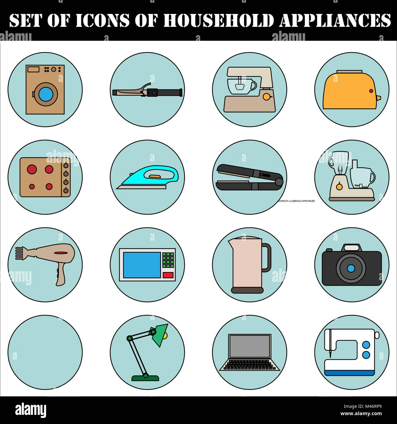 A set of icons of household electrical appliances. Stock Vector
