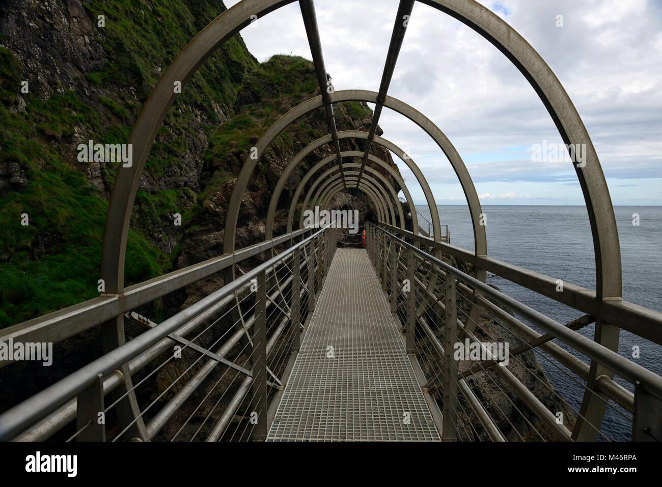 The Gobbins Cliff Path,Dramatic Cliff Walk,Metal Bridge,bridges,Causeway Coastal Route,Islandmagee,County Antrim,Northern Stock Photo