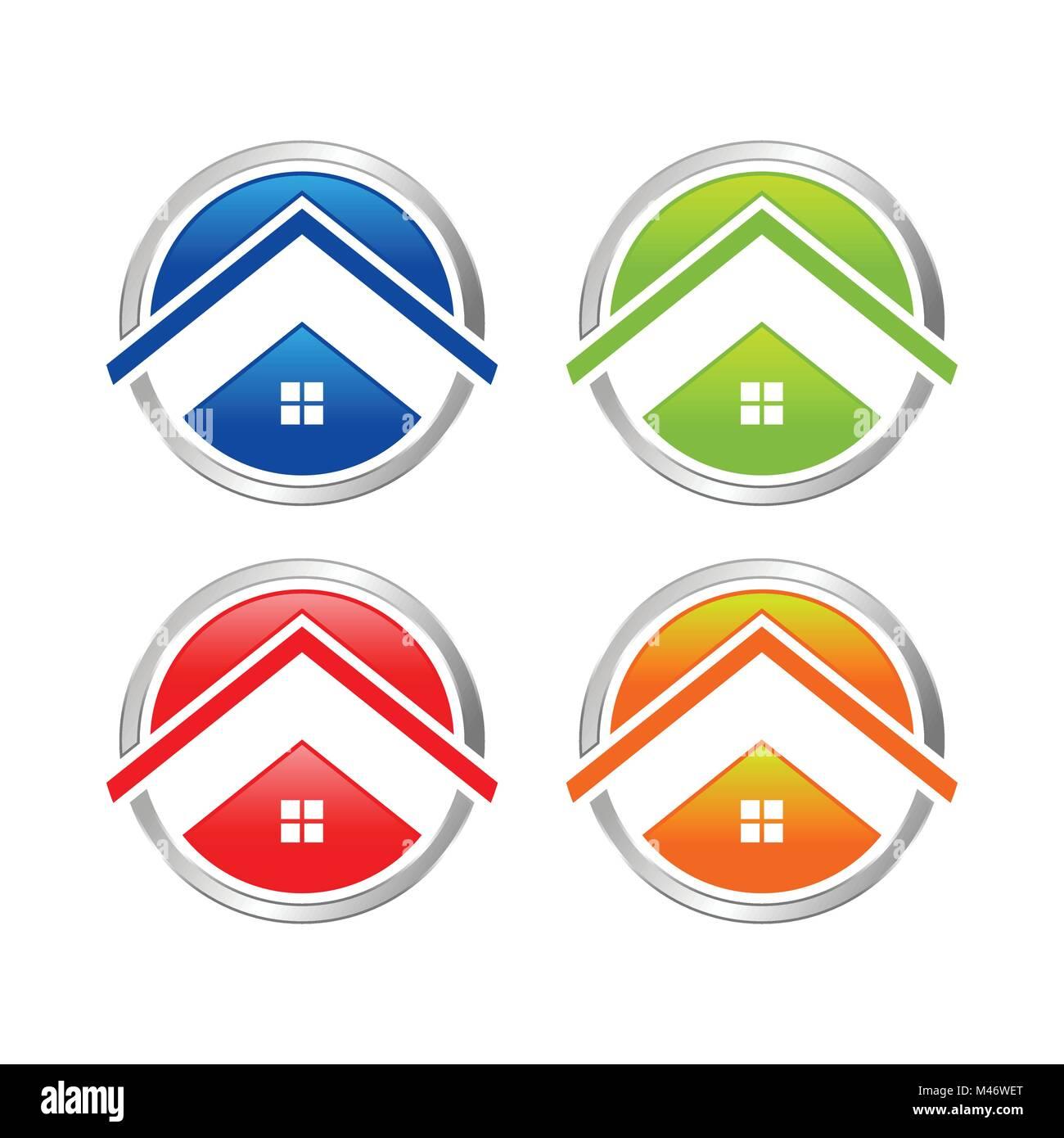 Abstract Multi Colored Home Circle Icon Vector Symbol Graphic Logo Design Set - Stock Vector
