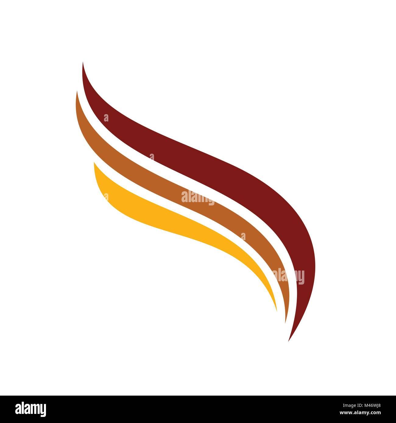 Triple Wings Symbol Line Art Symbol Logo Vector Graphic Design - Stock Image