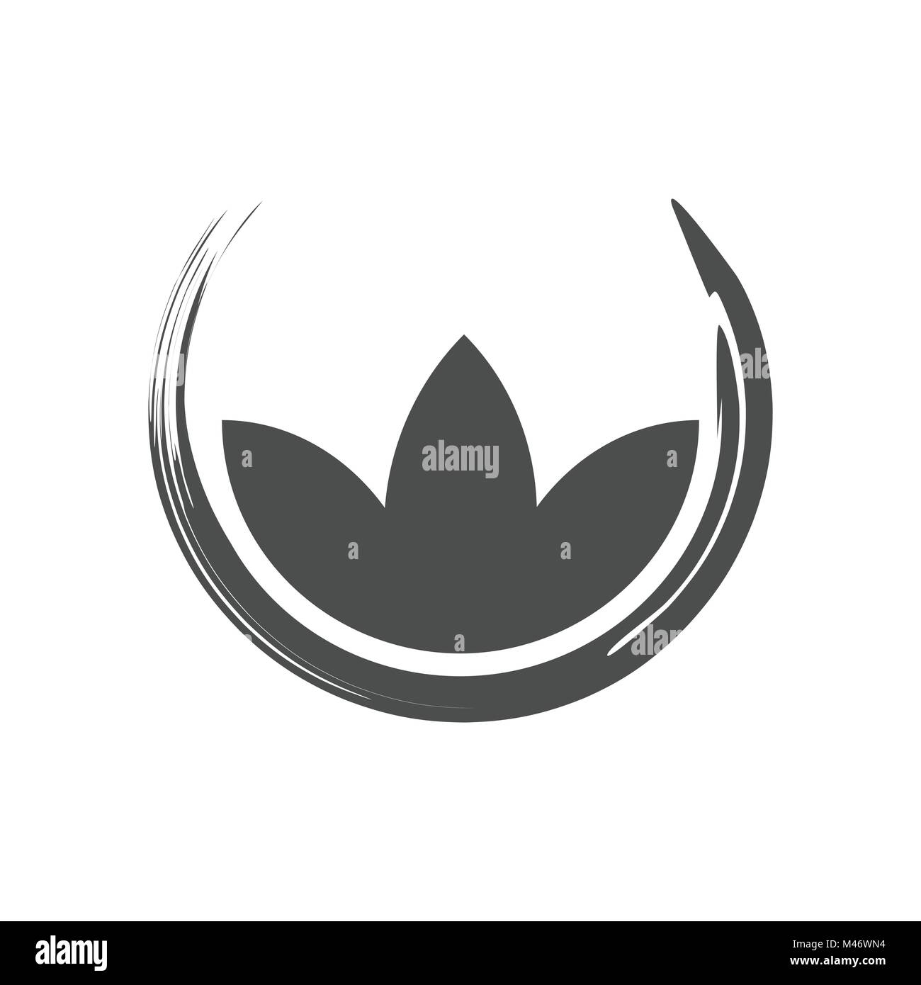 Lotus Zen Symbol Abstract Brush Vector Graphic Design