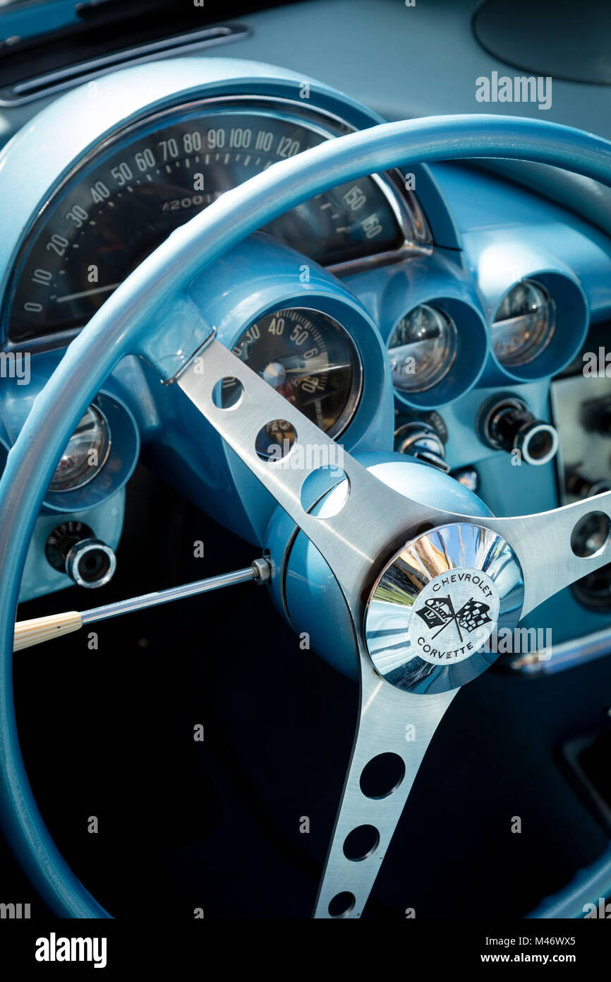 Steering Wheel Of A 1959 Chevrolet Corvette Stingray On Display At Cars 5th Autoshow Naples Florida Usa