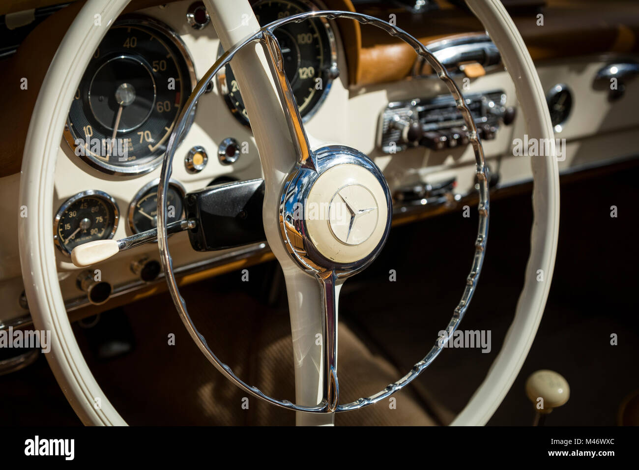 Steering wheel and dash of 1959 Mercedes Benz 190SL Convertible on display at 'Cars on 5th' autoshow, Naples, - Stock Image