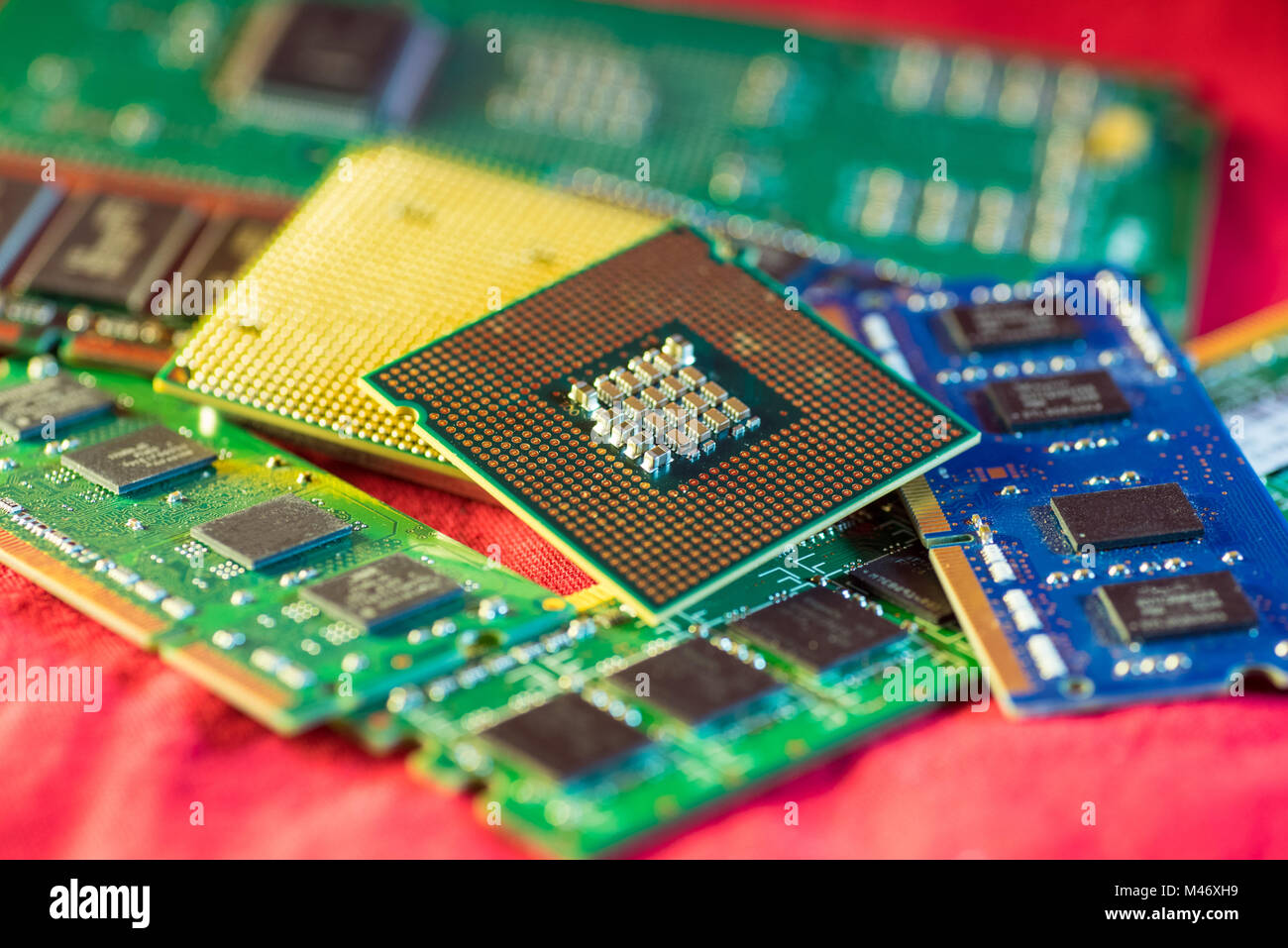 Two different types of CPUs on stacks of memory cards. - Stock Image