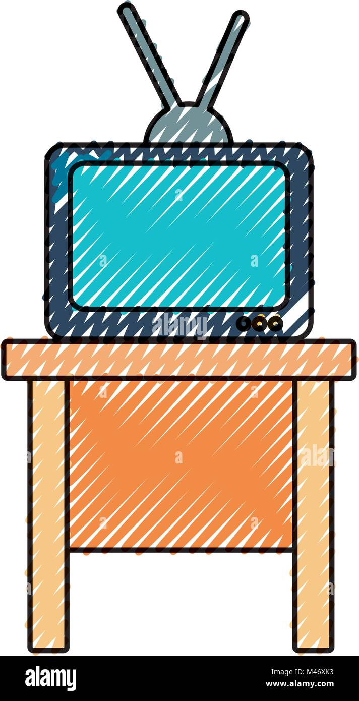vintage tv on table - Stock Vector