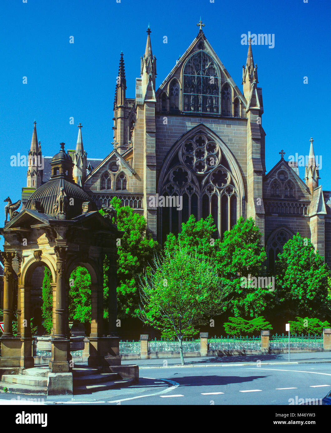 The Frazer Fountain seen at the northern end of St Mary's Cathdral in Sydney at Prince Albert Road near St Mary's - Stock Image