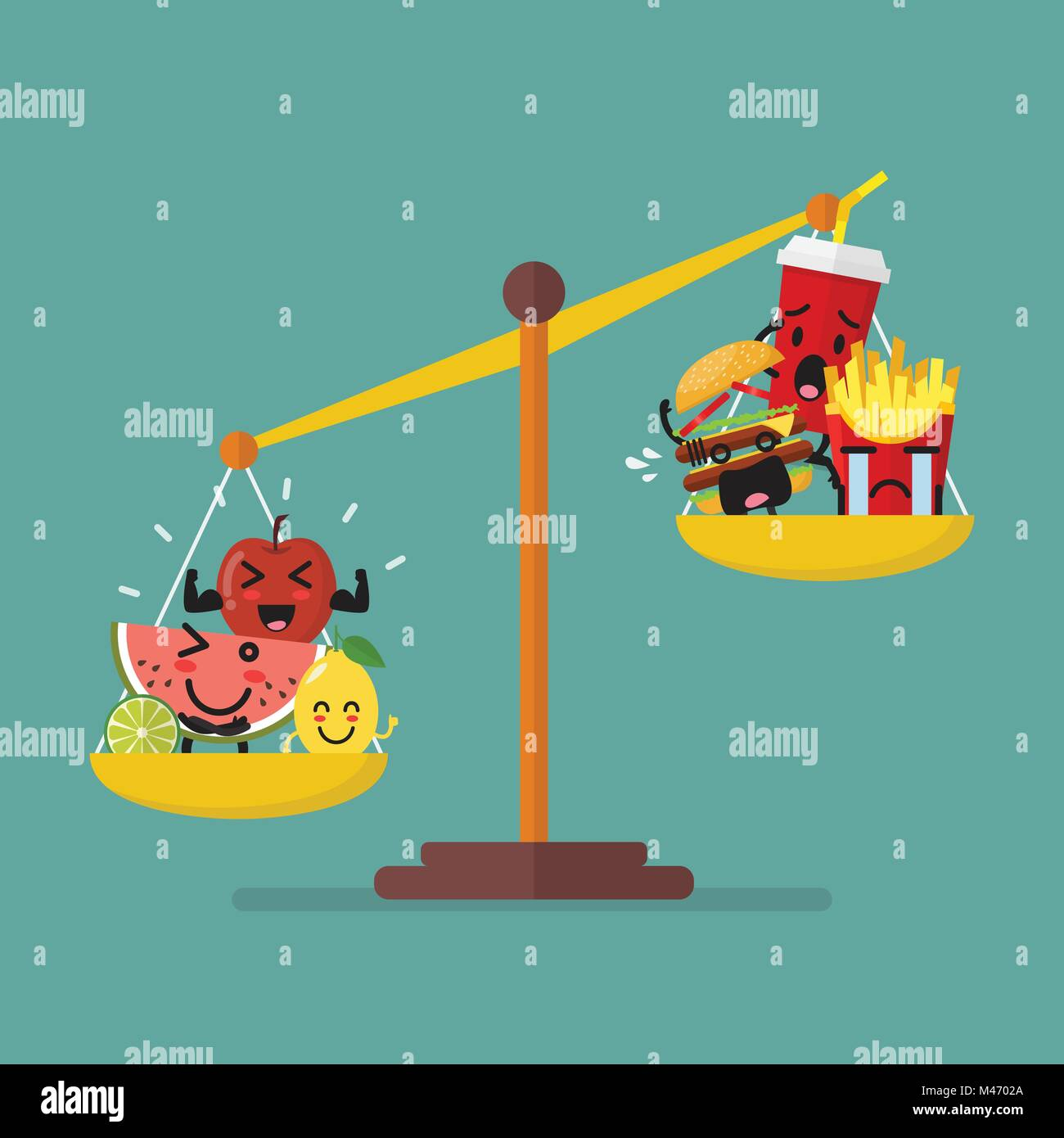 Healthy food and junk food balancing on scales. healthy lifestyle concept - Stock Vector