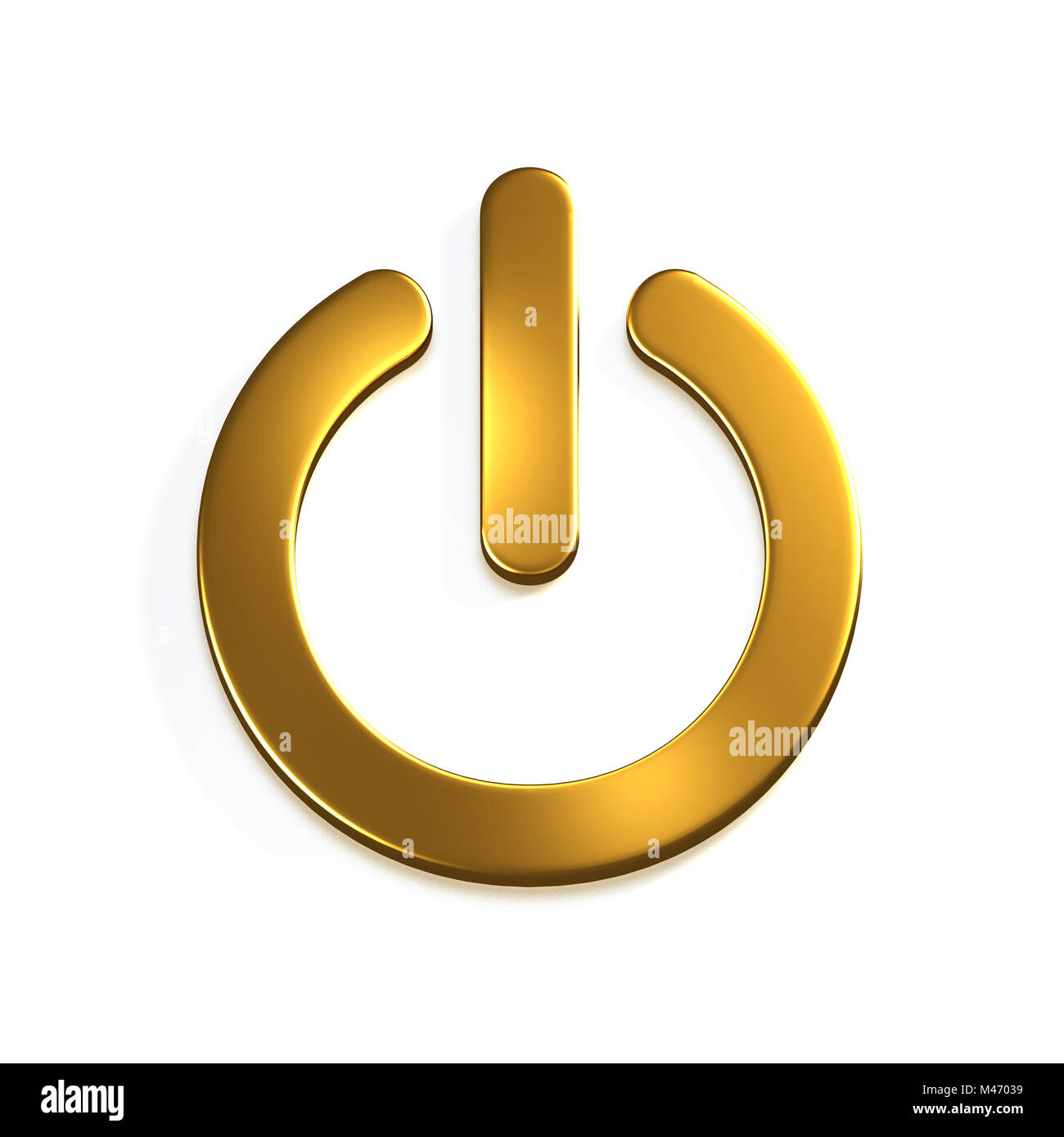 Gold Power Button Computer. 3D Render Illustration - Stock Image