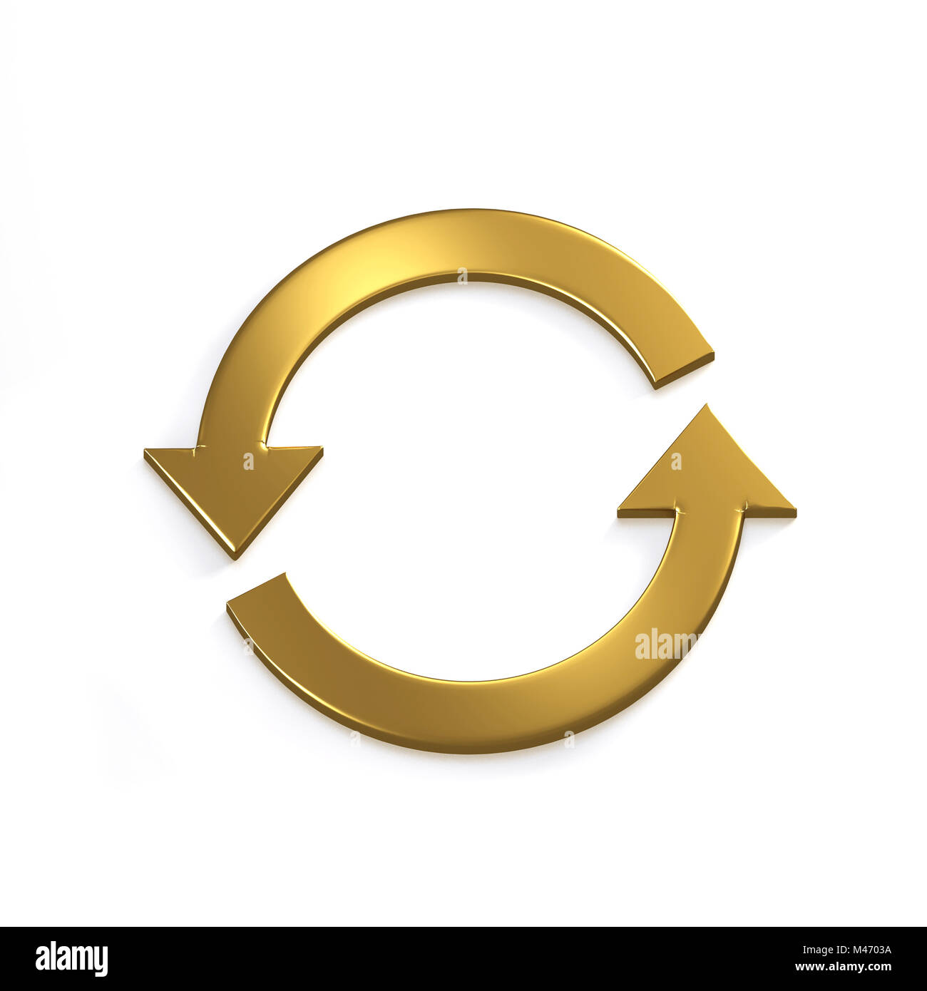 Gold Recycling Circular Arrows. Gold. 3D Render Illustration - Stock Image