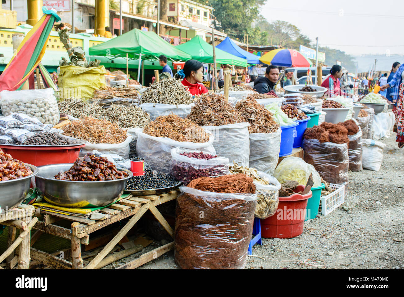traditional foods shop at Shwe Set Taw pagoda festival, Myanmar, Feb-2018 - Stock Image