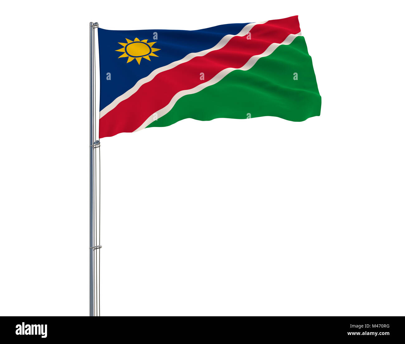 Flag of Namibia on the flagpole fluttering in the wind on a white, 3d rendering - Stock Image